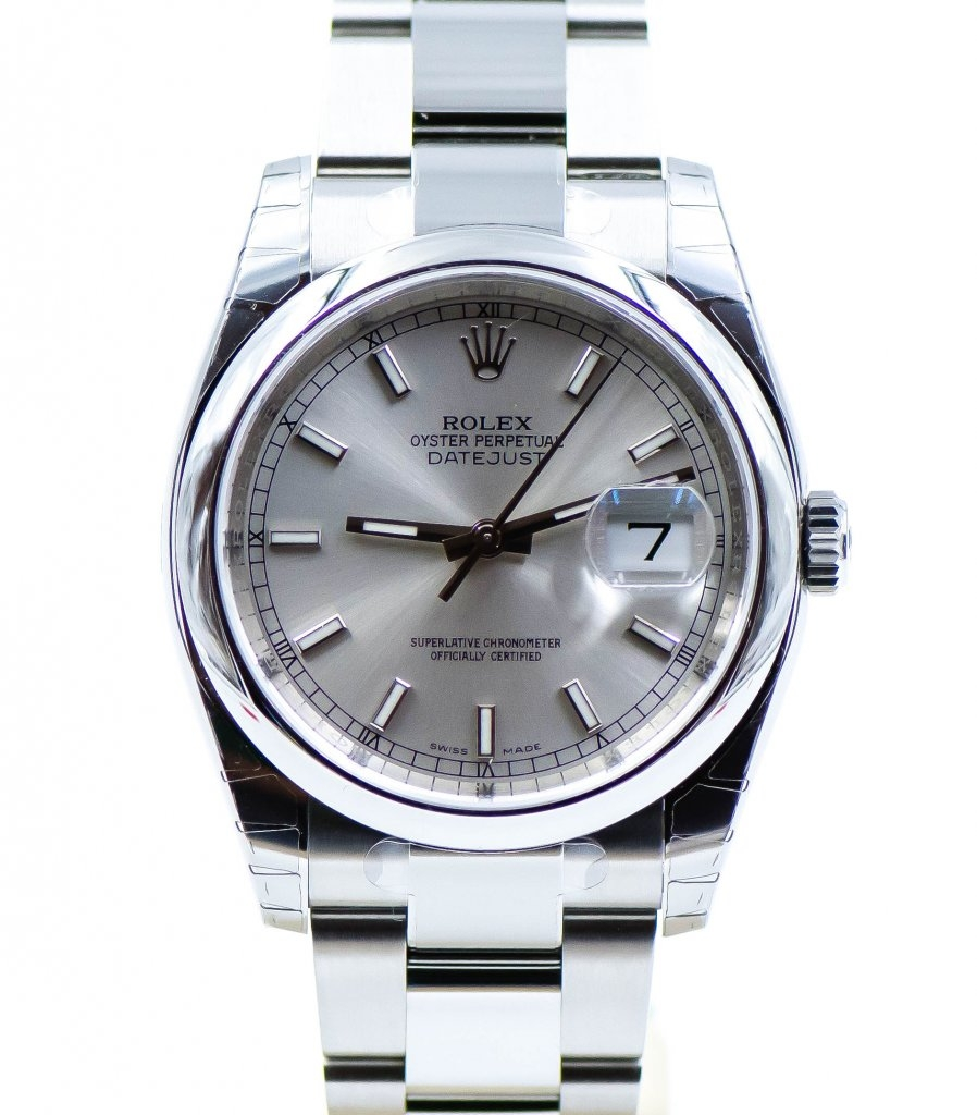 Rolex datejust 36 mm ref 116200 silver dial oyster bracelet 7to7 ro luxury watches for Rolex date just 36